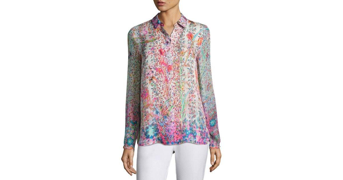 e578eea4f46316 Lyst - Elie Tahari Martha Floral-print Silk Blouse in Pink