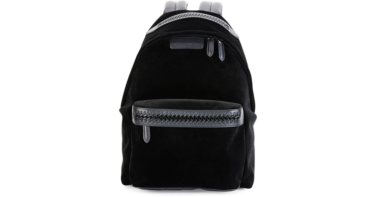 4d82d599a314 Lyst - Stella McCartney Falabella Go Medium Velvet Backpack in Black