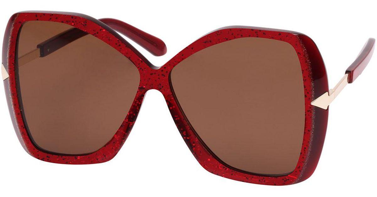 4f7df855f538 Lyst - Karen Walker 60mm Mary Red Glitter Sunglasses in Red