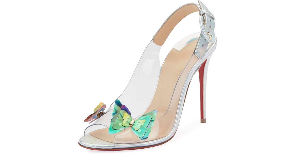 2be211b5873e Lyst - Christian Louboutin Ilcepoze 100 See-through Red Sole Pumps With  Butterfly in Metallic