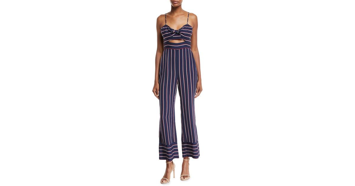 1738d2a20eb Lyst - Bardot Lulu Sleeveless Cutout Wide-leg Striped Jumpsuit in Blue