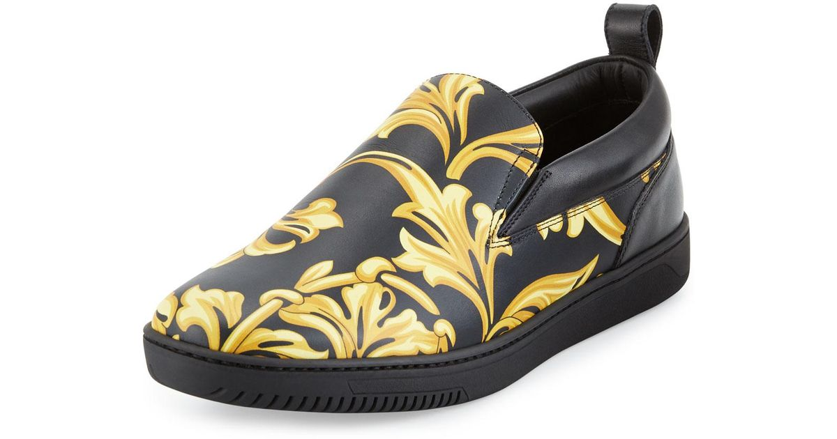 printed embroidered sneakers - Black Versace kx0Llo5lxe