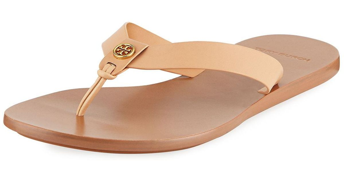 7cdc0626610 Lyst - Tory Burch Women s Manon Leather Thong Sandals in Natural