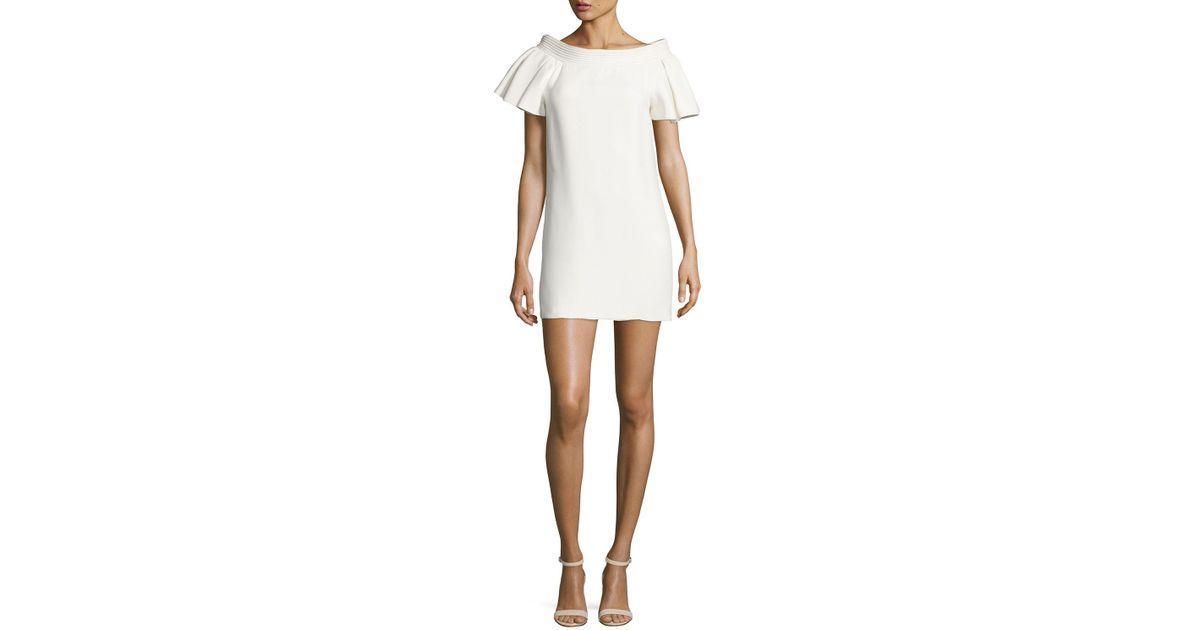 b5dd0dbe Brandon Maxwell Piped-neckline Mini Dress in White - Lyst
