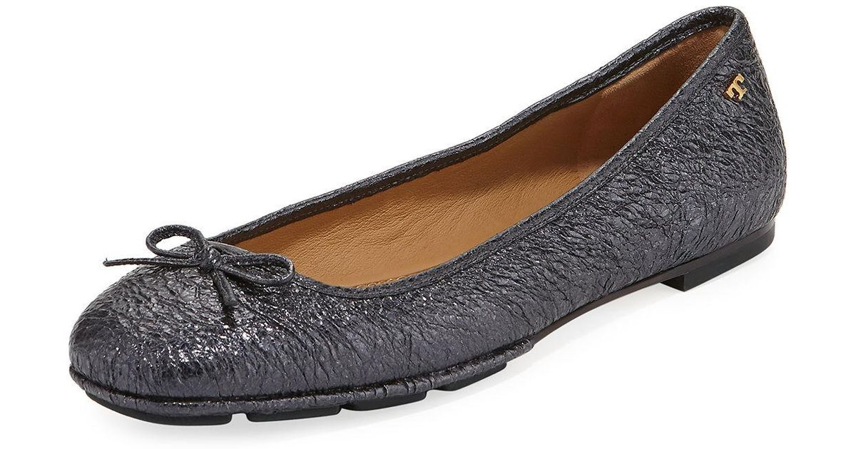 6f59e804052d Lyst - Tory Burch Laila 2 Metallic Leather Driver Ballet Flat in Blue