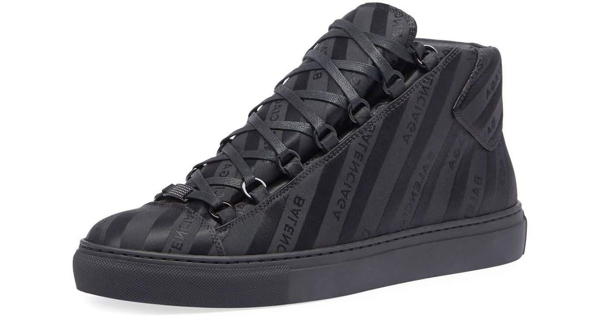666fe7abd89a7 Lyst - Balenciaga Men s Arena Striped Leather Mid-top Sneaker in Black for  Men