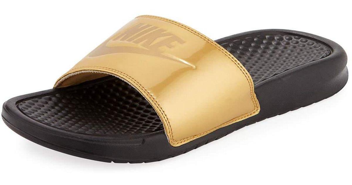79489c9341f5 ... 50% off lyst nike benassi just do it flat slide sandals in metallic  68e21 23ce8