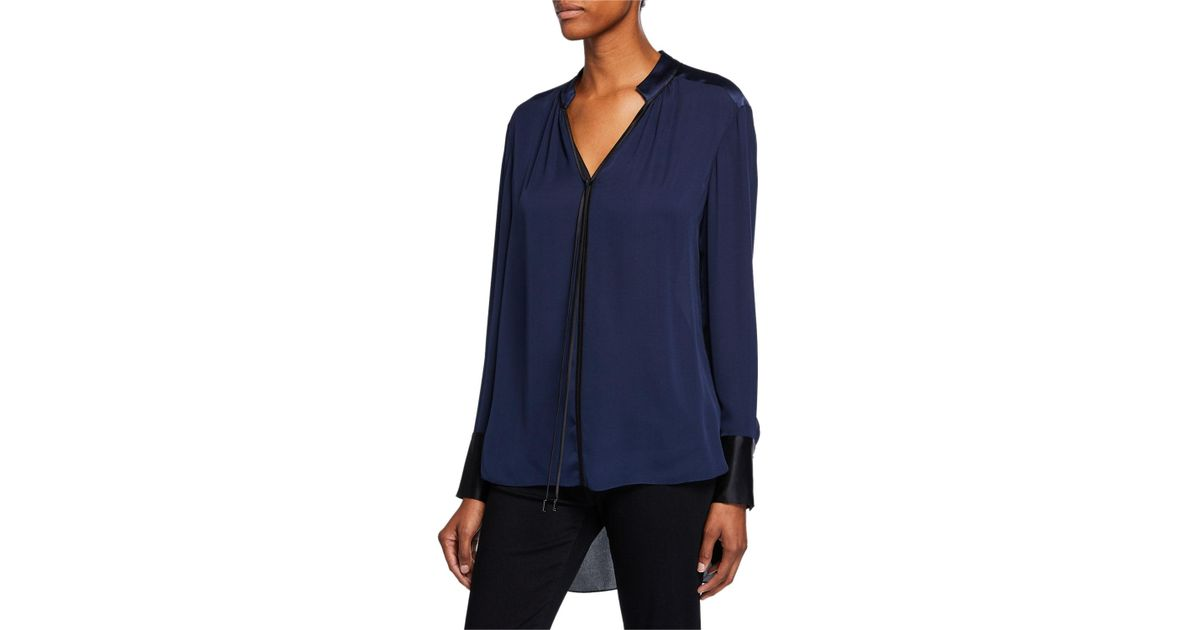 37281c518fe3 Lyst - Elie Tahari Shree V-neck Long-sleeve High-low Silk Blouse in Black