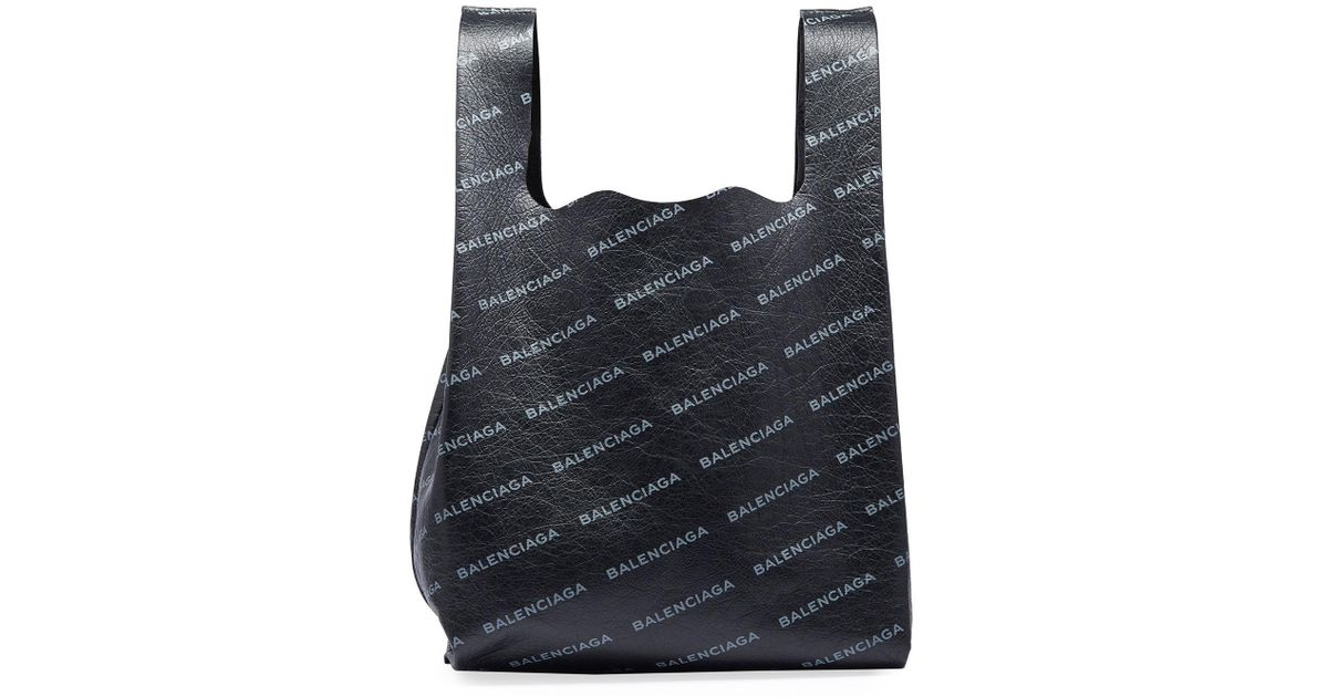 Balenciaga Mens Allover Logo-Print Leather Grocery Tote Bag JdcnbF