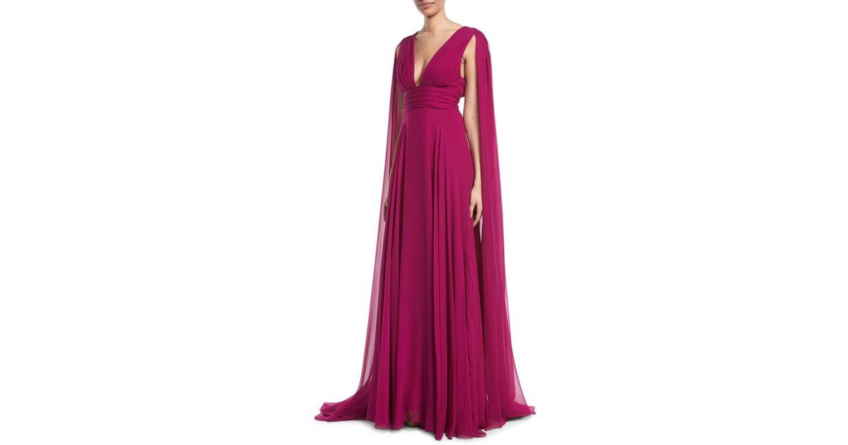 3e2a59cb309 Lyst - Monique Lhuillier V-neck Shoulder-streamers Draped Silk Chiffon Evening  Gown in Pink