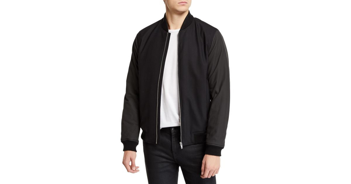a452733d7d539 Lyst - Theory Men s Brenton Gearheart Two-tone Bomber Jacket in Black for  Men - Save 25%