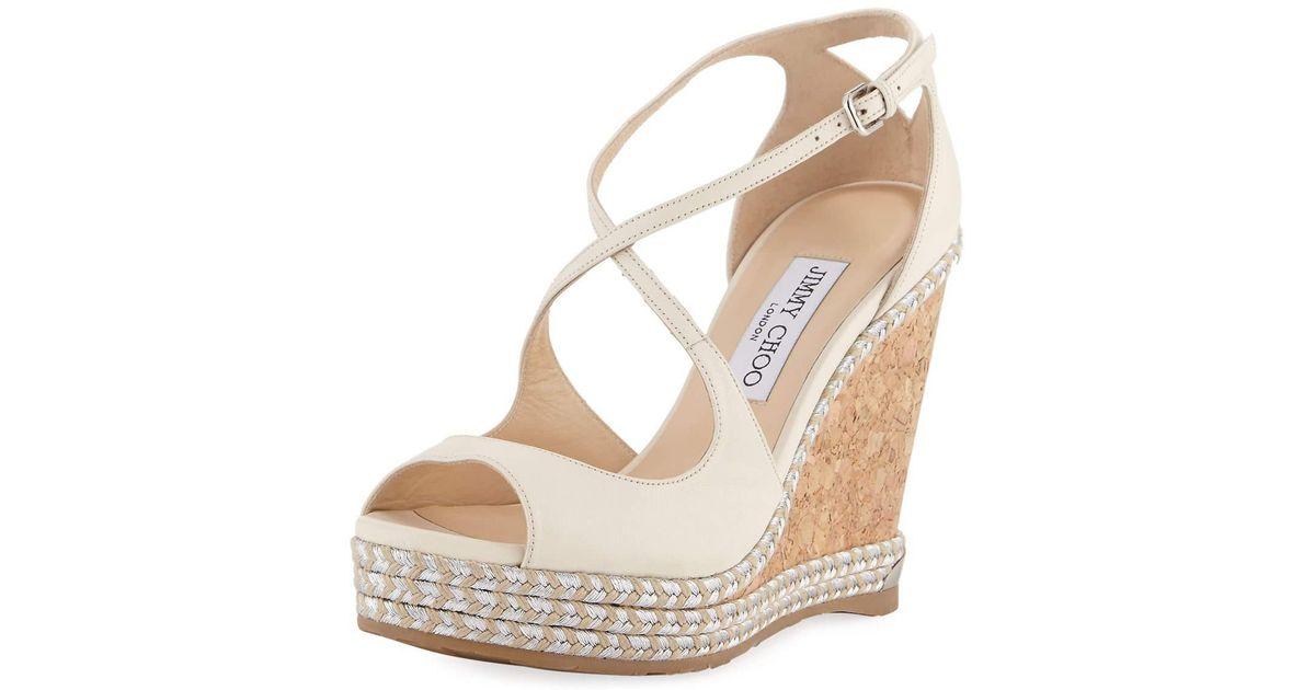 8f3c2f5a252 Lyst - Jimmy Choo Dakota Wedge Espadrille Sandals Off White in White