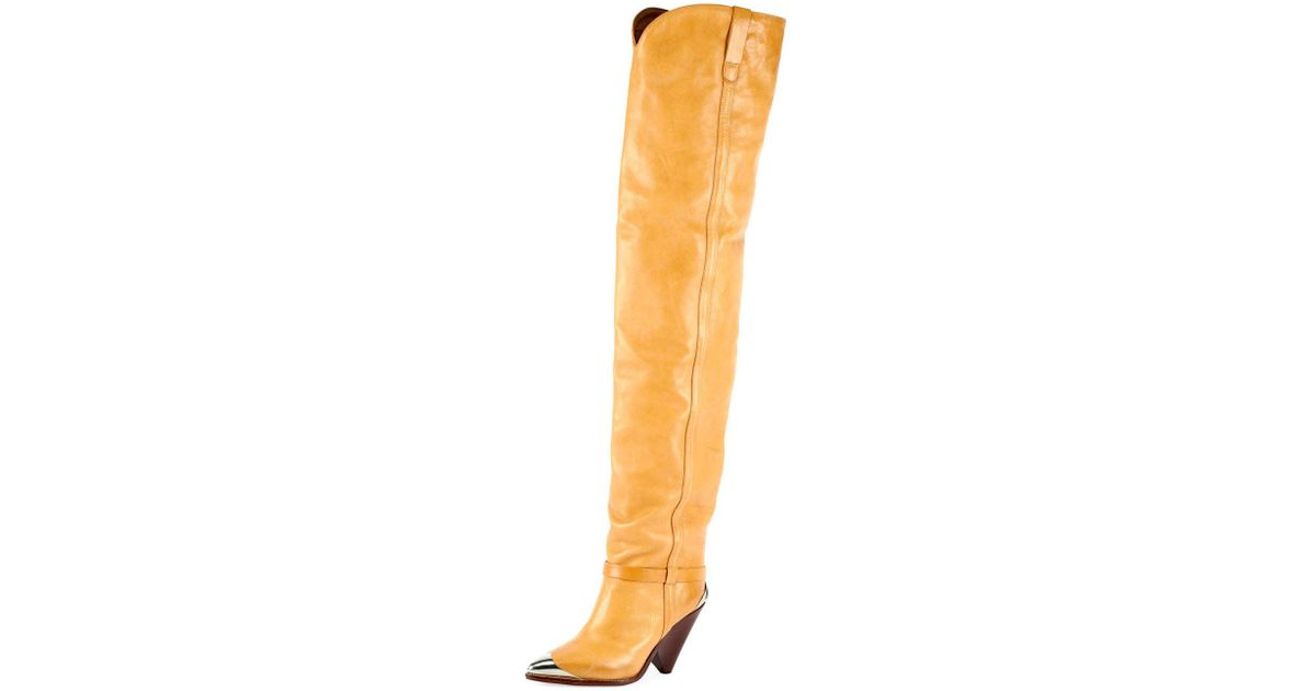9dc5a48c628 Isabel Marant Lafsten Embellished Leather Over-the-knee Boots - Save  21.301775147928993% - Lyst