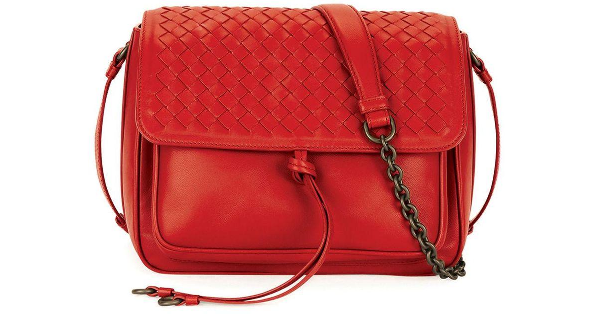 c412659b58 Lyst - Bottega Veneta Medium Intrecciato Flap Tie-front Shoulder Bag in Red