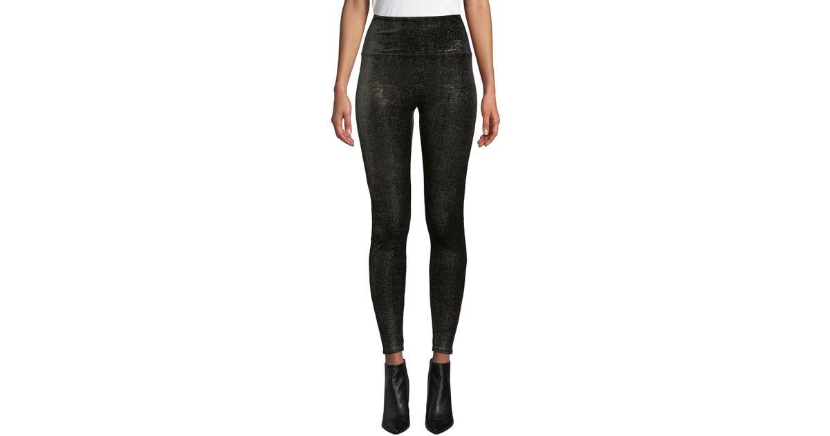 64e86471e51ff9 Spanx Velvet Shine High-rise Metallic Leggings in Black - Save 30% - Lyst