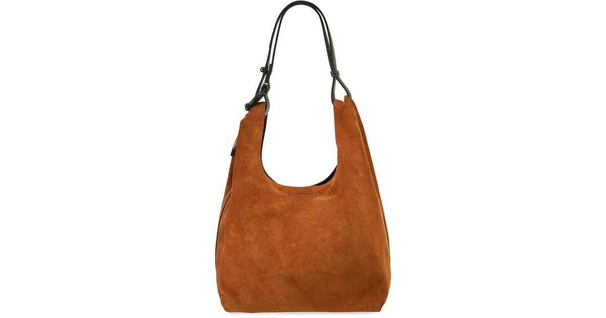 a841daf32e3 Lyst - Rebecca Minkoff Karlie Suede Hobo Bag in Brown