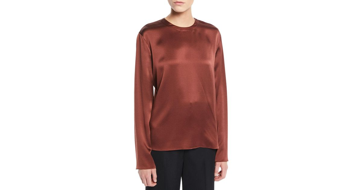 c4d8900c5fb1 Lyst - Vince Tie-back Silk Long-sleeve Blouse in Red