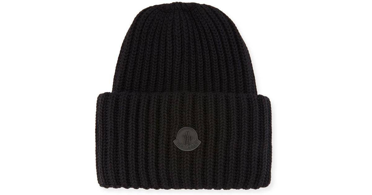 cd3fae666d3 Lyst - Moncler Men s Oversized Ribbed Logo Beanie Hat in Black for Men