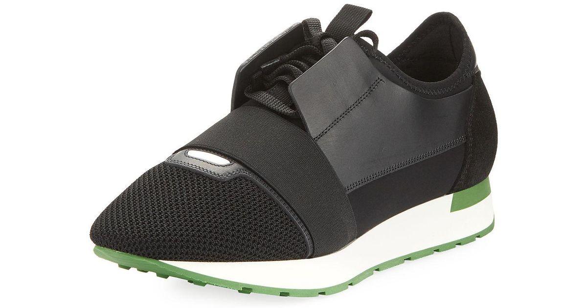f11f4b6e6 Lyst - Balenciaga Men's Race Runner Mesh & Leather Sneaker in Black for Men