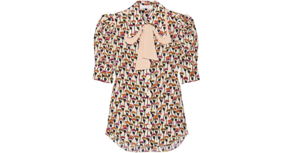 8de1404b54e9e4 Chloé Chloé Woman Pussy-bow Printed Silk Crepe De Chine Shirt Ivory in  White - Lyst