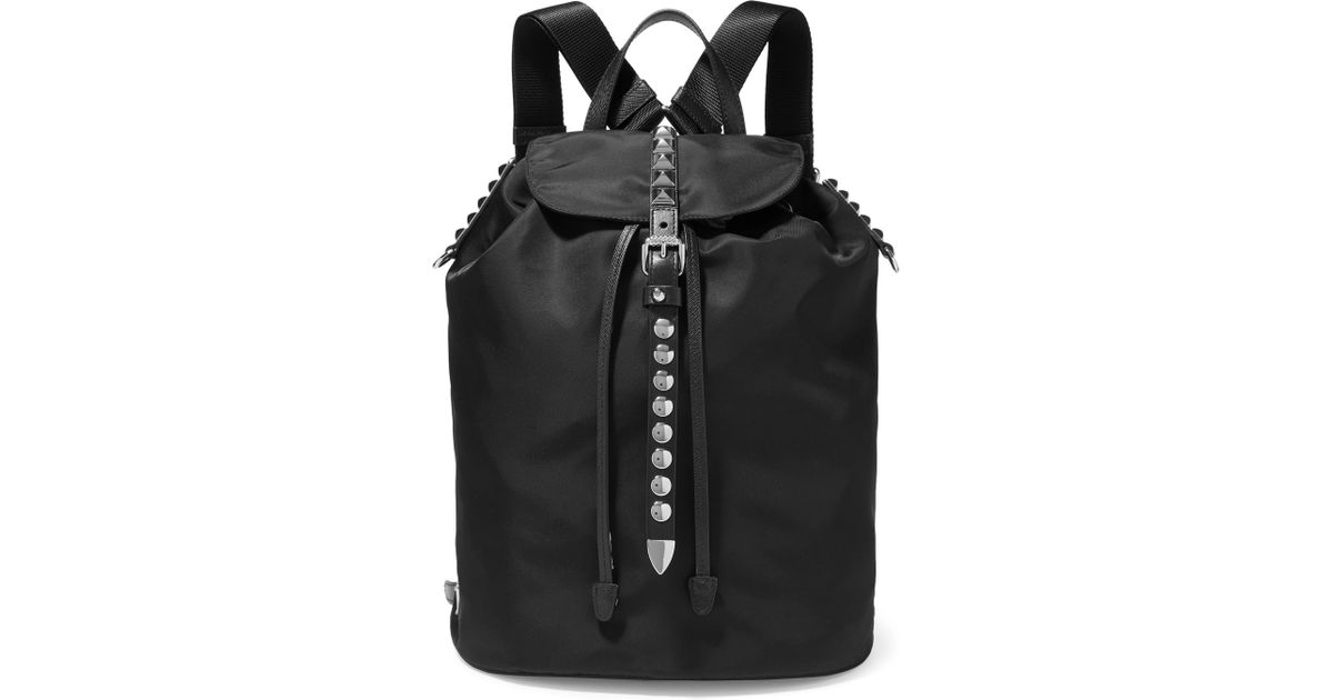 10711ac05189 Lyst - Prada Vela Studded Leather-trimmed Shell Backpack in Black