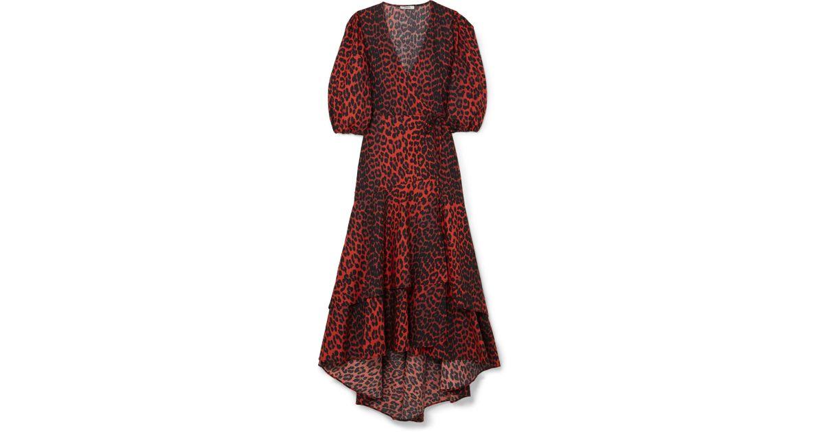 010dcccdf692 Ganni Bijou Leopard-print Cotton-poplin Wrap Dress - Lyst