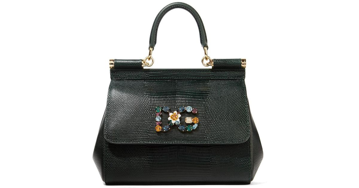 Sicily Small Embellished Lizard-effect Leather Tote - Dark green Dolce & Gabbana 1L7g3ID