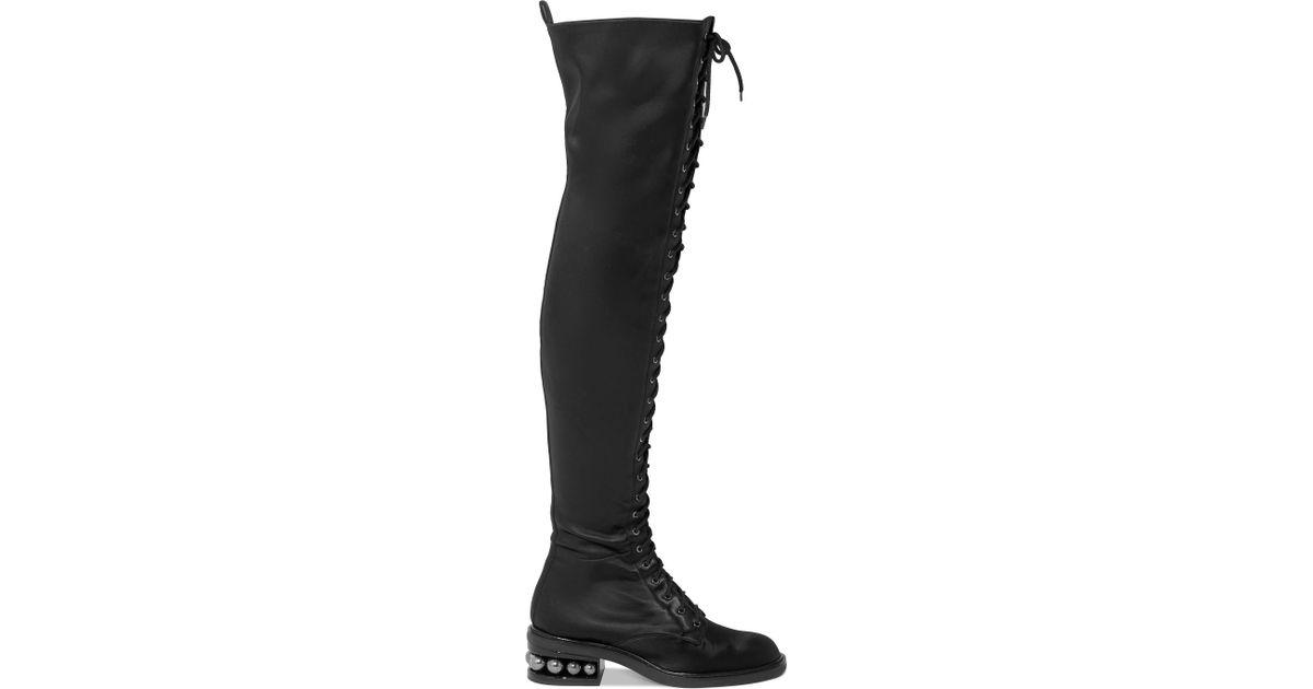 87c867fe906 Lyst - Nicholas Kirkwood Casati Embellished Stretch-satin Over-the-knee  Boots in Black