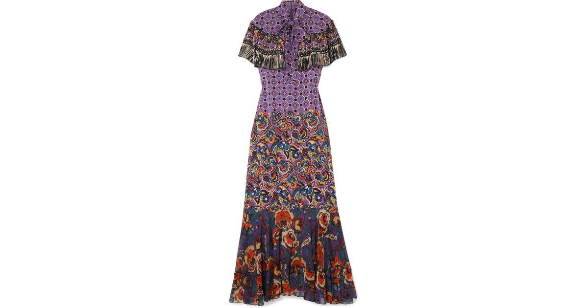 Printed Silk Crepe De Chine And Georgette Maxi Dress - Purple Anna Sui m9boLT
