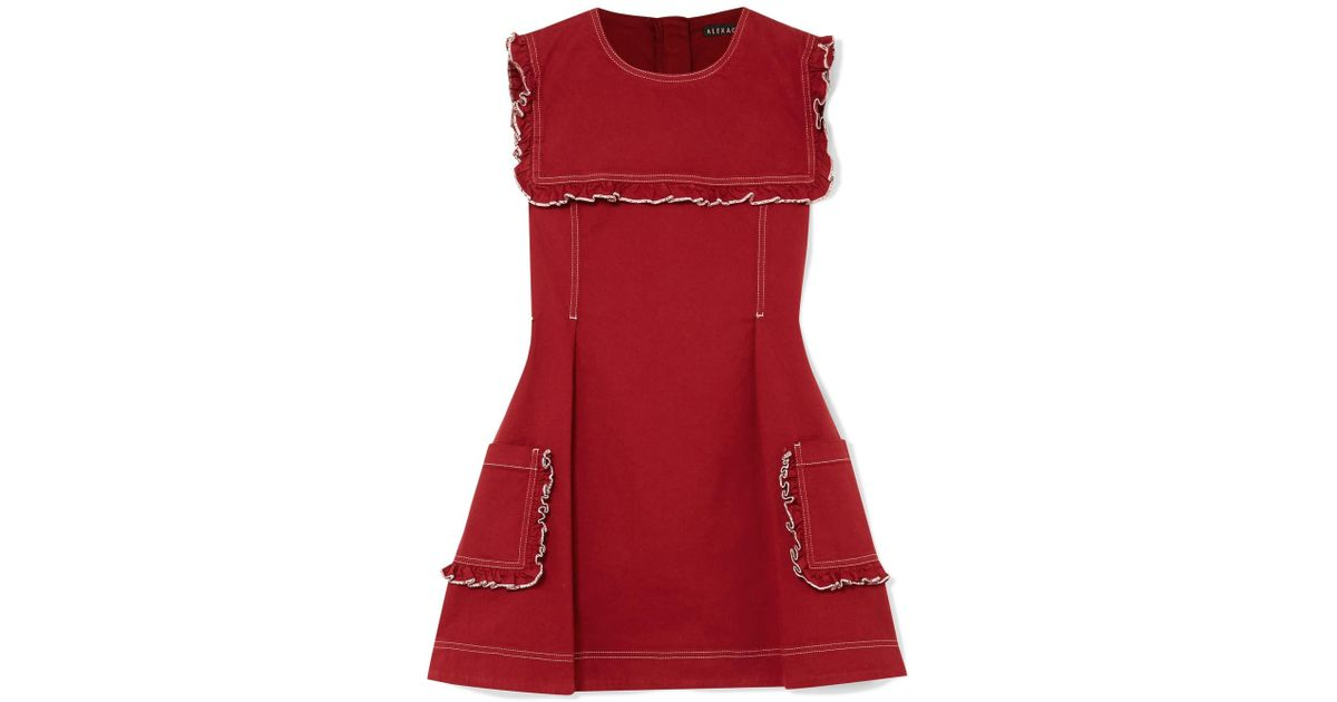 Sailor Ruffled Stretch-denim Mini Dress - Brick AlexaChung xMV3SOXWtN