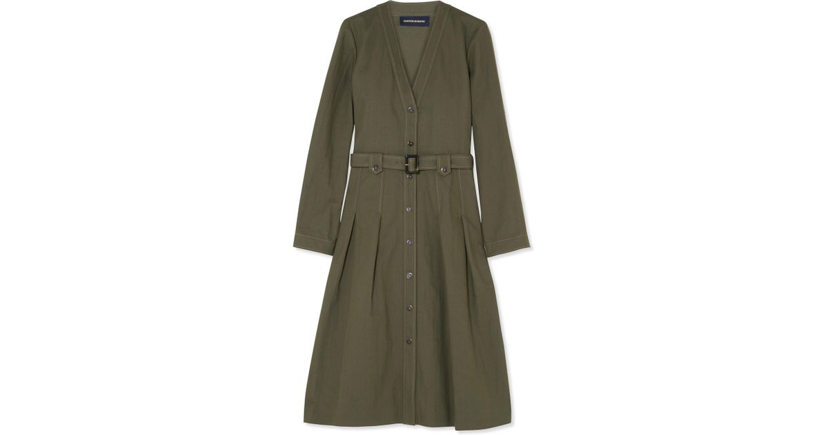 Cheap From China Outlet Shop For Friend Belted Canvas Dress - Army green Vanessa Seward L4Oypn3j