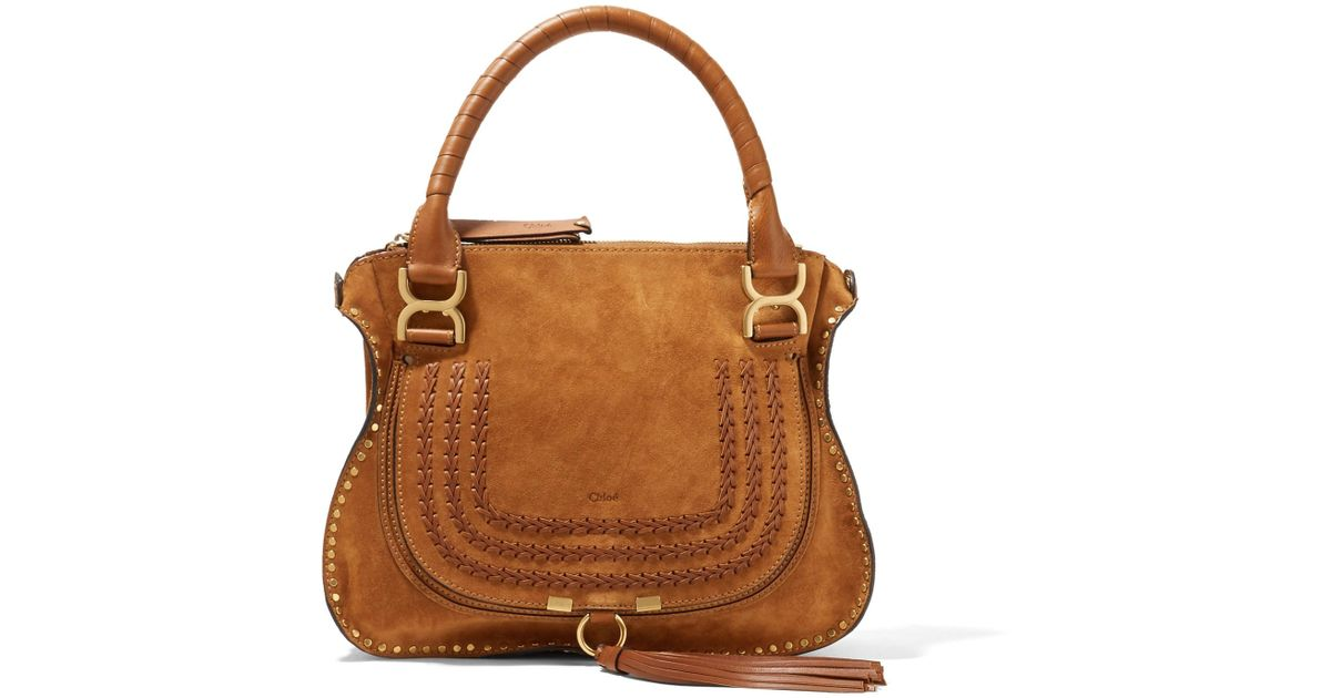 The Marcie Medium Whipstitched Suede Tote - Light brown Chlo KYprXtgJ