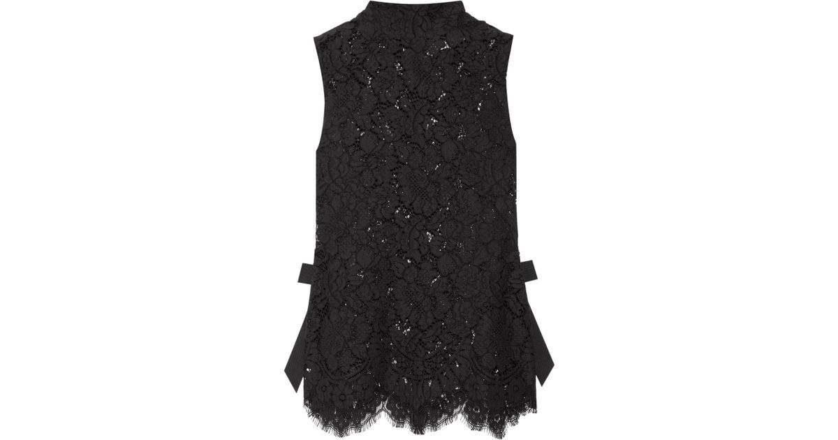 7f444579 Ganni Duval Grosgrain-trimmed Corded Lace Top in Black - Lyst