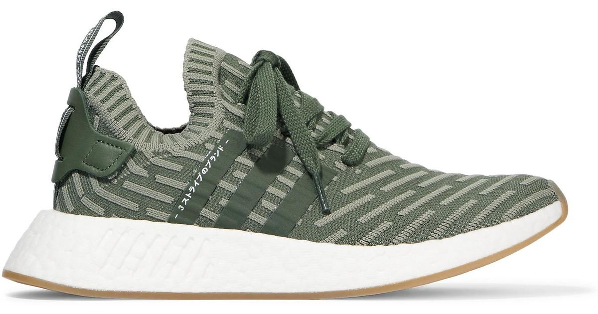 Adidas Originals Multicolor Nmd R2 Leather trimmed Primeknit Sneakers Lyst