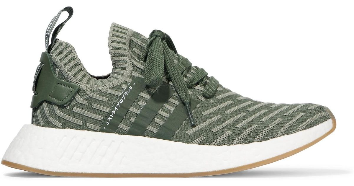 Nmd r2 Leather-trimmed Primeknit Sneakers - Army green adidas Originals mVv5CJm1r