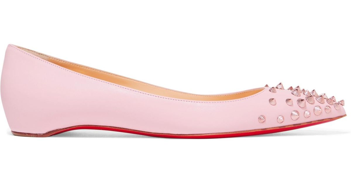 5bc88598c085 Christian Louboutin Spikyshell Embellished Leather Ballet Flats in Pink -  Lyst