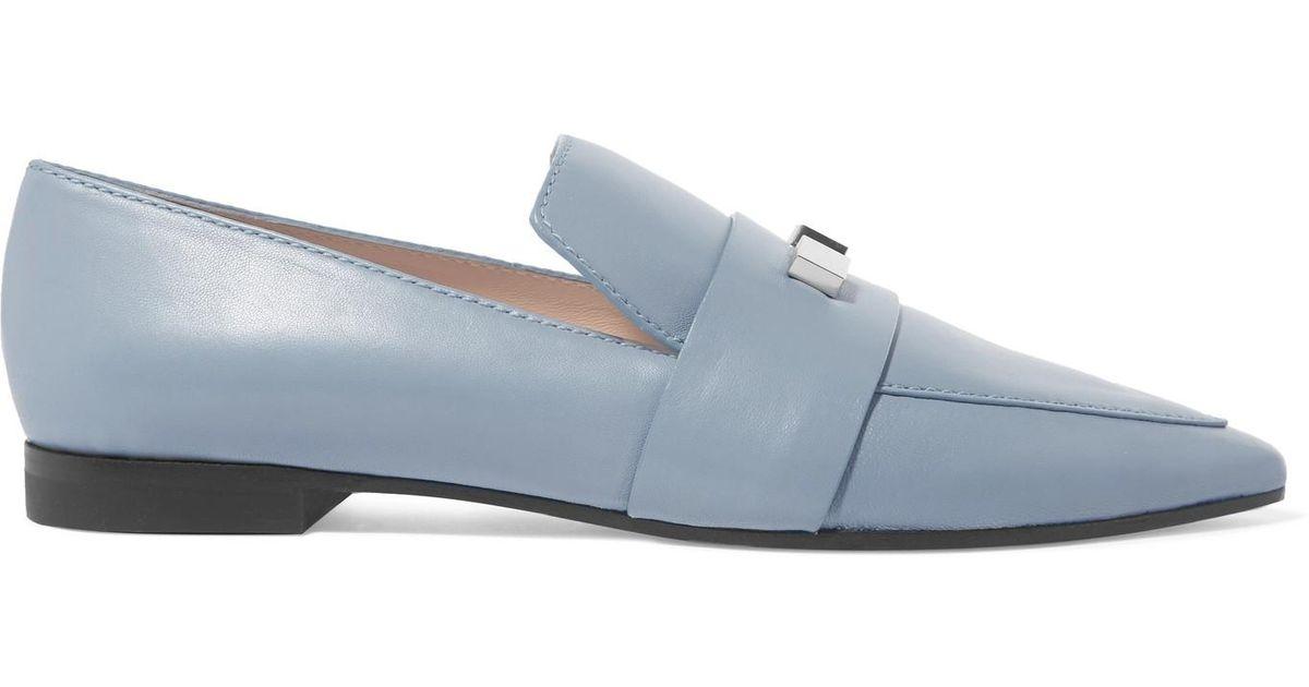 Vega Embellished Leather Loafers - Blue Stuart Weitzman AO75ijZz