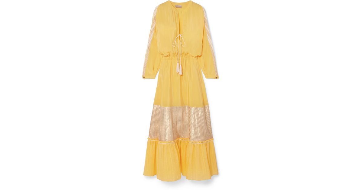 Jackueline Paneled Silk-habotai Midi Dress - Yellow Zeus + Dione dzZSeQC