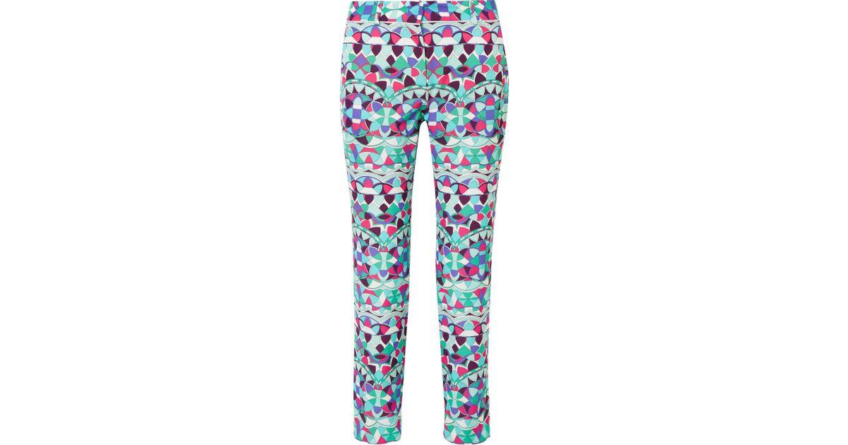 Cropped Printed Cotton-blend Faille Slim-leg Pants - Blue Emilio Pucci UnGV5rRvI