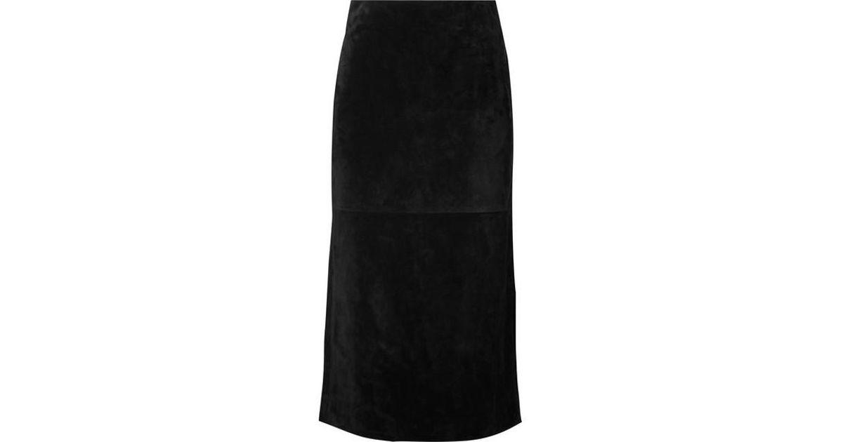 149d9f6c7d Saint Laurent Suede Midi Skirt in Black - Lyst