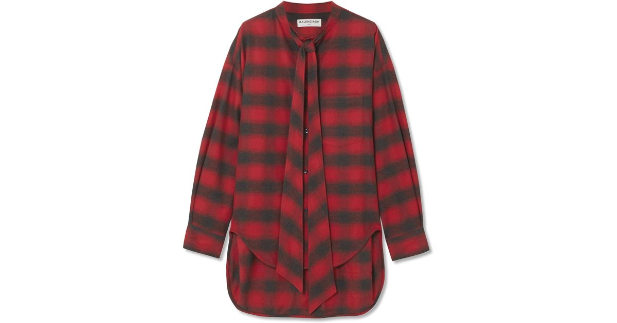 309fdddd830a Balenciaga Swing Oversized Printed Checked Cotton-flannel Shirt in Red -  Lyst