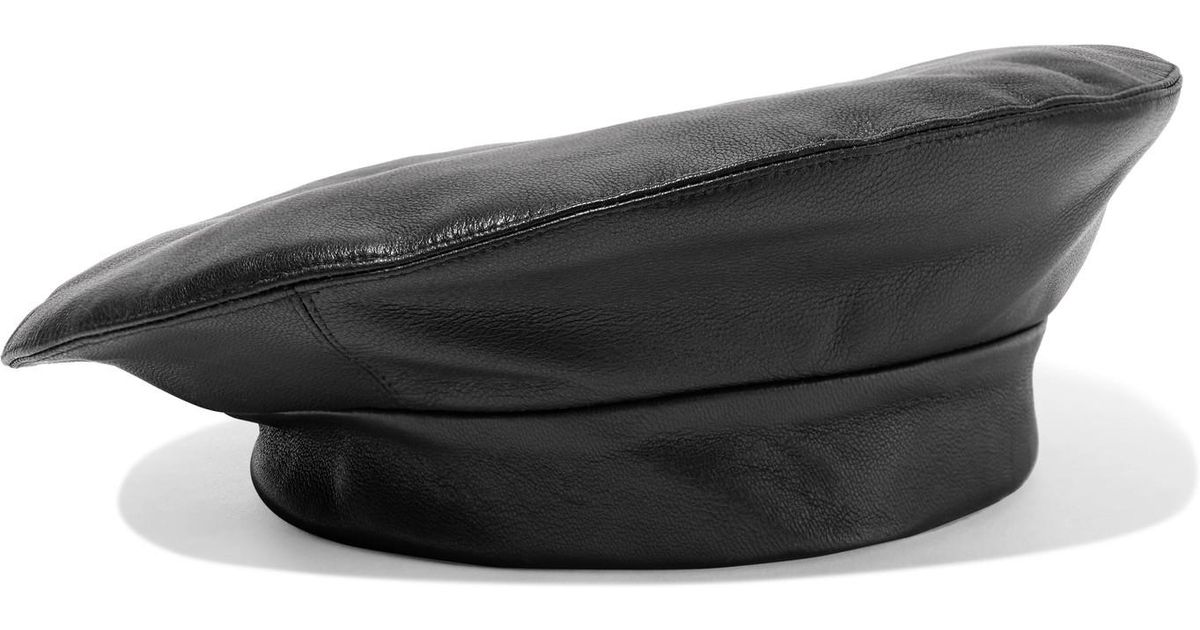 37bf24463d031 Clyde Black Lambskin Beret in Black - Save 50% - Lyst