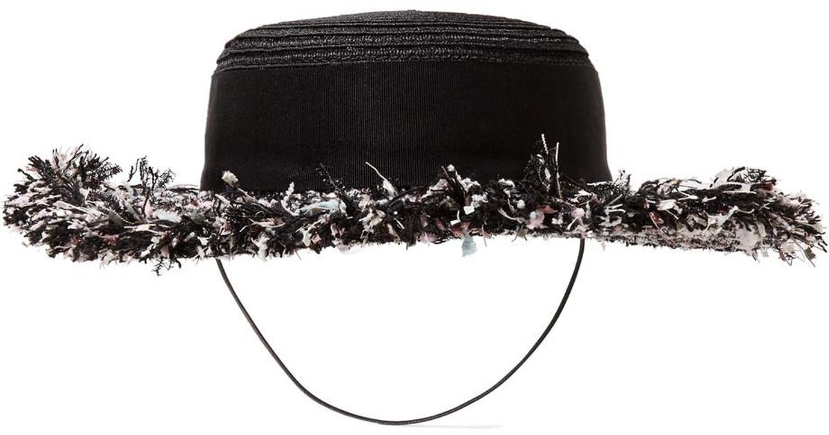 Brigitte Tweed-trimmed Hemp Boater - Black Eugenia Kim cq9qGuH4W