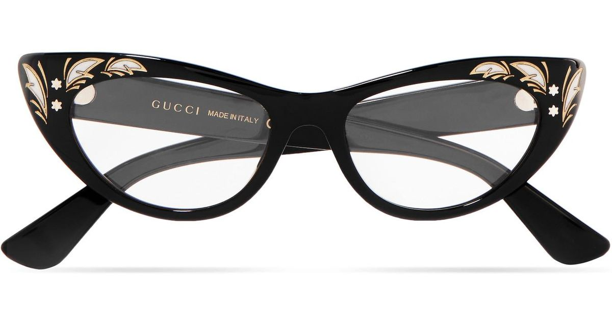 13a588be23676 Gucci Cat-eye Acetate Optical Glasses in Black - Lyst