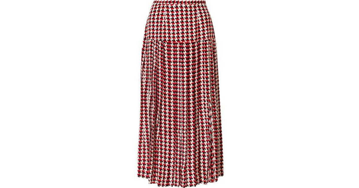 0c8808dd7c RIXO London Tina Pleated Houndstooth Silk Crepe De Chine Midi Skirt in Red  - Lyst