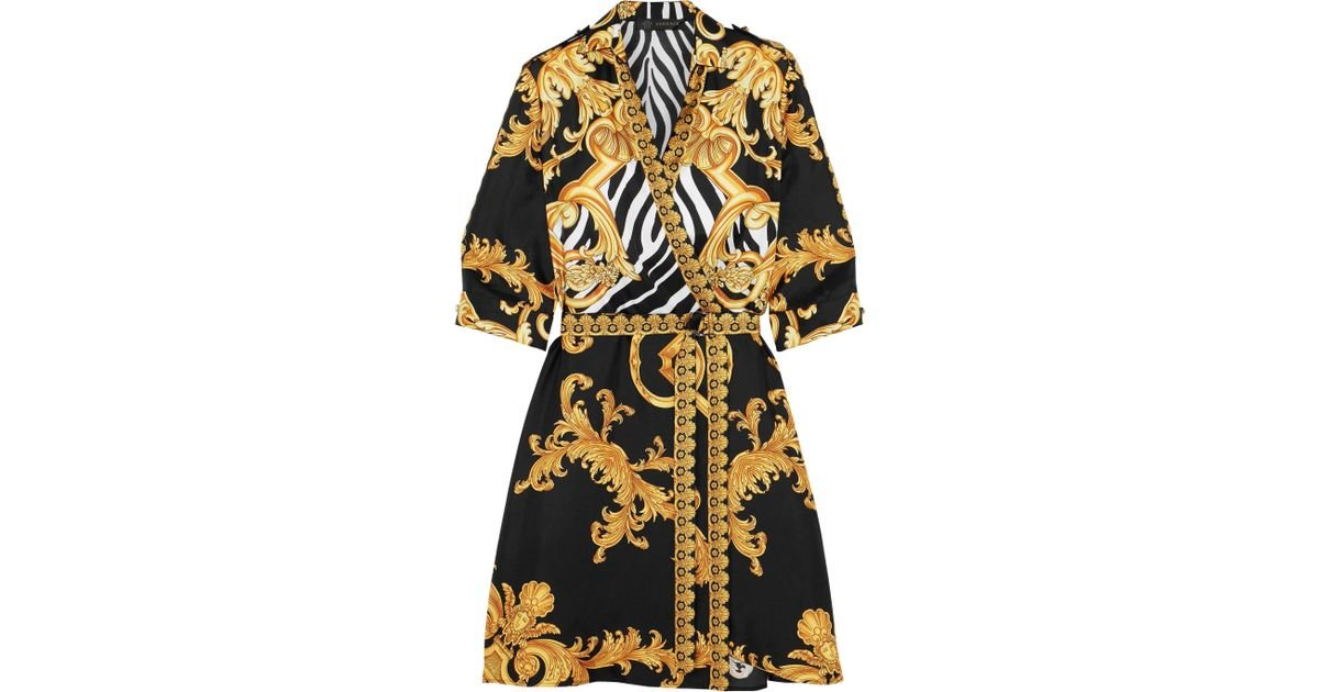 15aea12e016a Versace Wrap-effect Printed Silk-twill Mini Dress in Metallic - Lyst