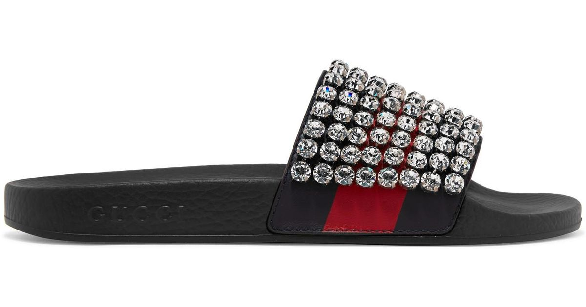 725132ea686 Gucci Pursuit Crystal-embellished Leather And Rubber Slides in Black - Lyst