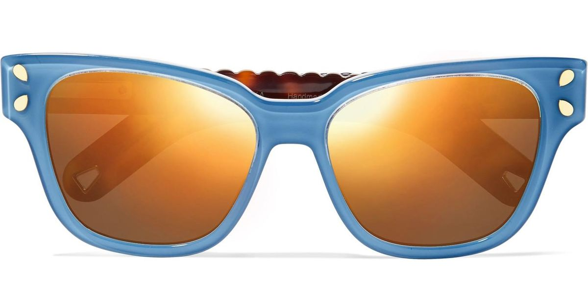8d634b2838 Lyst - Lucy Folk Diving For Gold Square-frame Acetate Sunglasses in Blue