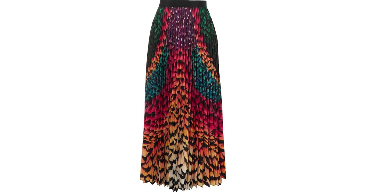 2d53e1a2ee Mary Katrantzou Satin-trimmed Pleated Printed Chiffon Skirt in Green - Lyst