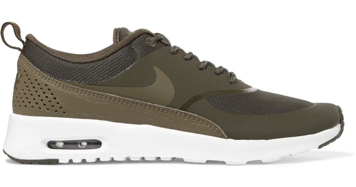 dfaa20a9aa Nike Air Max Thea Rubber, Stretch-mesh And Croc-effect Leather Sneakers in  Green - Lyst